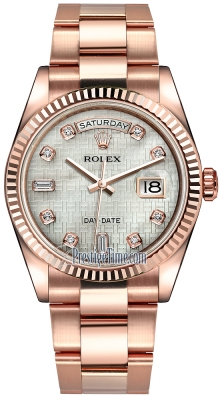 Rolex Day-Date 36mm Everose Gold Fluted Bezel 118235 White MOP Oxford Diamond Oyster
