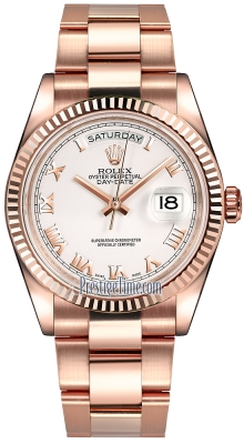 Rolex Day-Date 36mm Everose Gold Fluted Bezel 118235 White Roman Oyster