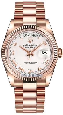 Rolex Day-Date 36mm Everose Gold Fluted Bezel 118235 White Roman President