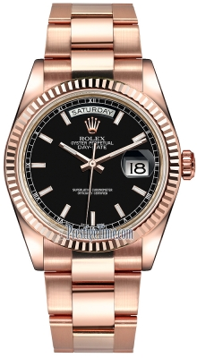 Rolex Day-Date 36mm Everose Gold Fluted Bezel 118235 Black Index Oyster