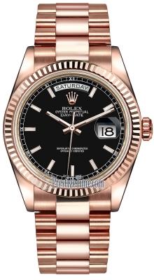 Rolex Day-Date 36mm Everose Gold Fluted Bezel 118235 Black Index President