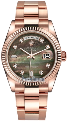 Rolex Day-Date 36mm Everose Gold Fluted Bezel 118235 Black MOP Diamond Oyster