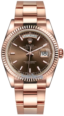 Rolex Day-Date 36mm Everose Gold Fluted Bezel 118235 Chocolate Index Oyster