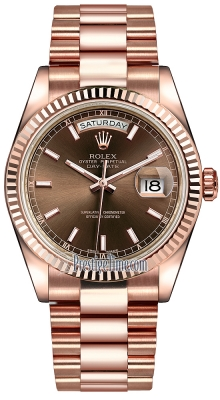 Rolex Day-Date 36mm Everose Gold Fluted Bezel 118235 Chocolate Index President