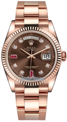 Rolex Day-Date 36mm Everose Gold Fluted Bezel 118235 Chocolate Diamond Ruby Oyster