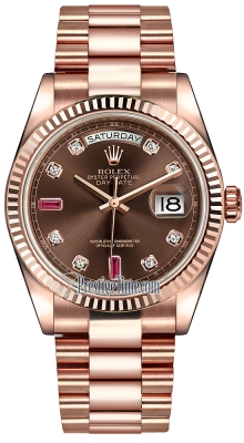 Rolex Day-Date 36mm Everose Gold Fluted Bezel 118235 Chocolate Diamond Ruby President