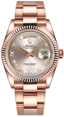 Rolex Day-Date 36mm Everose Gold Fluted Bezel 118235 Pink Roman Oyster