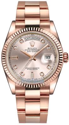 Rolex Day-Date 36mm Everose Gold Fluted Bezel 118235 Pink Diamond Oyster