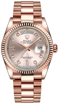 Rolex Day-Date 36mm Everose Gold Fluted Bezel 118235 Pink Diamond President