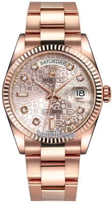 Rolex Day-Date 36mm Everose Gold Fluted Bezel 118235 Pink Jubilee Diamond Oyster