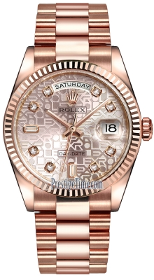 Rolex Day-Date 36mm Everose Gold Fluted Bezel 118235 Pink Jubilee Diamond President
