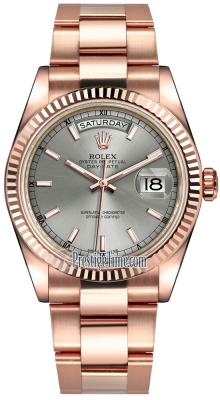 Rolex Day-Date 36mm Everose Gold Fluted Bezel 118235 Rhodium Index Oyster