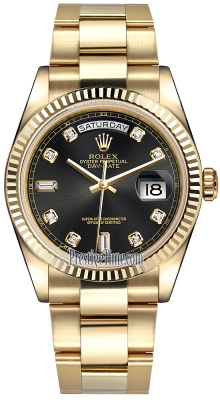 Rolex Day-Date 36mm Yellow Gold Fluted Bezel 118238 Black Diamond Oyster