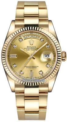 Rolex Day-Date 36mm Yellow Gold Fluted Bezel 118238 Champagne Diamond Oyster