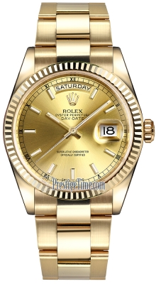 Rolex Day-Date 36mm Yellow Gold Fluted Bezel 118238 Champagne Index Oyster