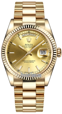 Rolex Day-Date 36mm Yellow Gold Fluted Bezel 118238 Champagne Index President