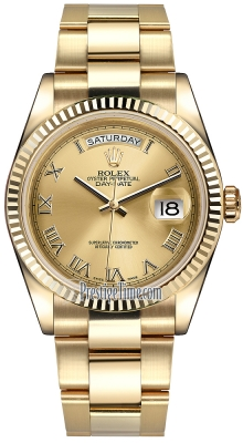 Rolex Day-Date 36mm Yellow Gold Fluted Bezel 118238 Champagne Roman Oyster