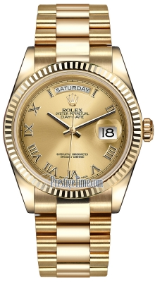 Rolex Day-Date 36mm Yellow Gold Fluted Bezel 118238 Champagne Roman President