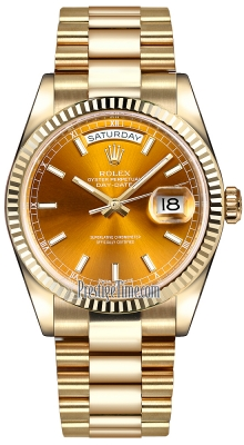 Rolex Day-Date 36mm Yellow Gold Fluted Bezel 118238 Cognac Index President