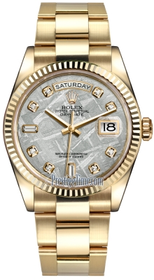 Rolex Day-Date 36mm Yellow Gold Fluted Bezel 118238 Meteorite Diamond Oyster
