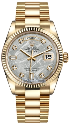 Rolex Day-Date 36mm Yellow Gold Fluted Bezel 118238 Meteorite Diamond President