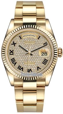 Rolex Day-Date 36mm Yellow Gold Fluted Bezel 118238 Pave Diamond Black Roman Oyster