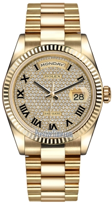 Rolex Day-Date 36mm Yellow Gold Fluted Bezel 118238 Pave Diamond Black Roman President