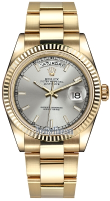 Rolex Day-Date 36mm Yellow Gold Fluted Bezel 118238 Silver Index Oyster