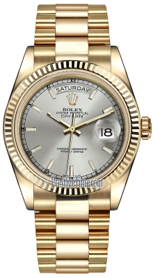 Rolex Day-Date 36mm Yellow Gold Fluted Bezel 118238 Silver Index President