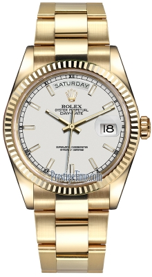 Rolex Day-Date 36mm Yellow Gold Fluted Bezel 118238 White Index Oyster