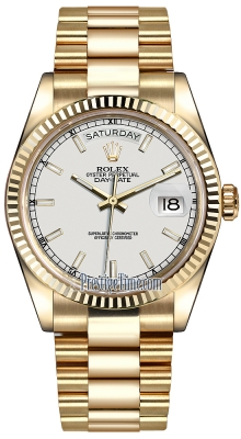 Rolex Day-Date 36mm Yellow Gold Fluted Bezel 118238 White Index President