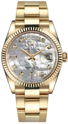 Rolex Day-Date 36mm Yellow Gold Fluted Bezel 118238 White MOP Diamond Oyster