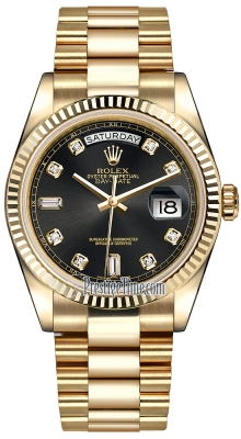 Rolex Day-Date 36mm Yellow Gold Fluted Bezel 118238 Black Diamond President