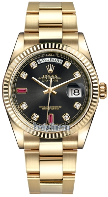 Rolex Day-Date 36mm Yellow Gold Fluted Bezel 118238 Black Diamond Ruby Oyster