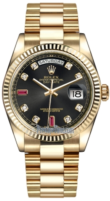 Rolex Day-Date 36mm Yellow Gold Fluted Bezel 118238 Black Diamond Ruby President