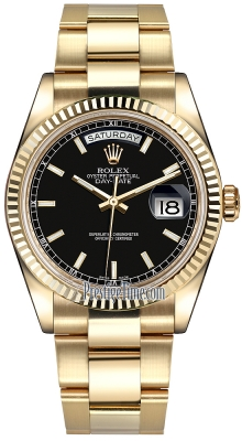 Rolex Day-Date 36mm Yellow Gold Fluted Bezel 118238 Black Index Oyster