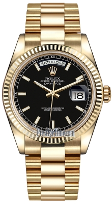 Rolex Day-Date 36mm Yellow Gold Fluted Bezel 118238 Black Index President