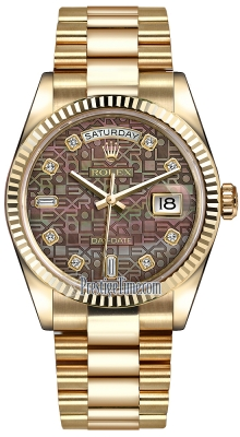 Rolex Day-Date 36mm Yellow Gold Fluted Bezel 118238 Black MOP Jubilee Diamond President