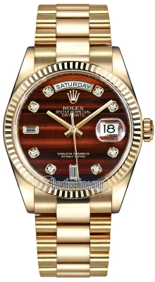 Rolex Day-Date 36mm Yellow Gold Fluted Bezel 118238 Bulls Eye Diamond President