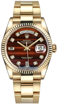 Rolex Day-Date 36mm Yellow Gold Fluted Bezel 118238 Bulls Eye Diamond Oyster