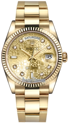 Rolex Day-Date 36mm Yellow Gold Fluted Bezel 118238 Champagne Jubilee Diamond Oyster
