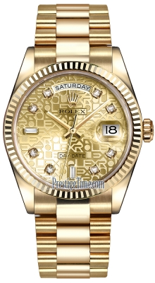 Rolex Day-Date 36mm Yellow Gold Fluted Bezel 118238 Champagne Jubilee Diamond President