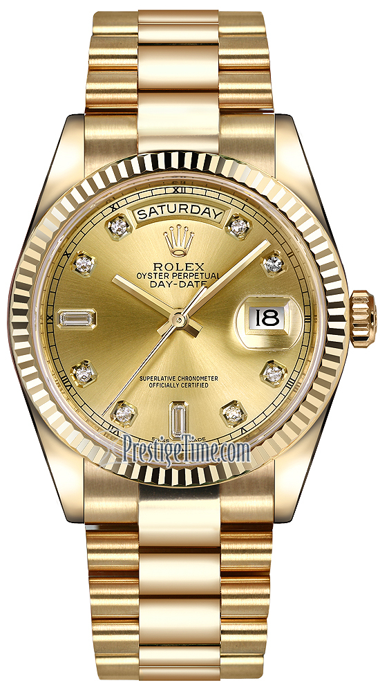 Rolex Day Date 36mm Yellow Gold Fluted Bezel 118238 Champagne Diamond President