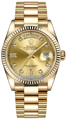 Rolex Day-Date 36mm Yellow Gold Fluted Bezel 118238 Champagne Diamond President