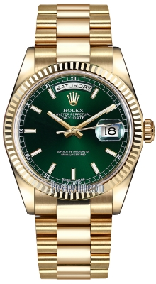 Rolex Day-Date 36mm Yellow Gold Fluted Bezel 118238 Green Index President