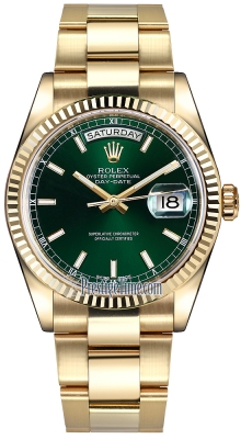 Rolex Day-Date 36mm Yellow Gold Fluted Bezel 118238 Green Index Oyster