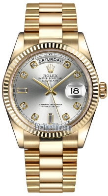 Rolex Day-Date 36mm Yellow Gold Fluted Bezel 118238 Silver Diamond President