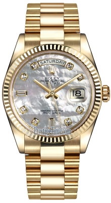 Rolex Day-Date 36mm Yellow Gold Fluted Bezel 118238 White MOP Diamond President
