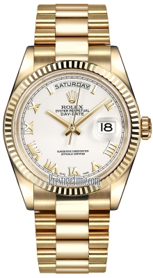 Rolex Day-Date 36mm Yellow Gold Fluted Bezel 118238 White Roman President