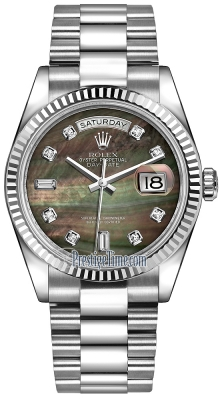 Rolex Day-Date 36mm White Gold Fluted Bezel 118239 Black MOP Diamond President